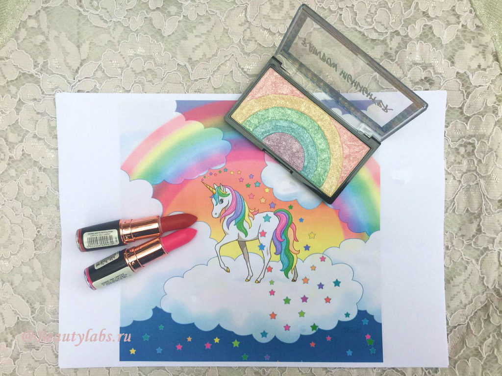 Хайлайтер Makeup Revolution Rainbow Highlighter и губные помады Makeup Revolution Rose Gold Lipstick